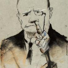 Bez tytułu, z serii: Ci Poważni Panowie [1983], pastel, flamaster, akryl, papier naklejony na karton, 30x21, sygn.l.d.: T. Kantor