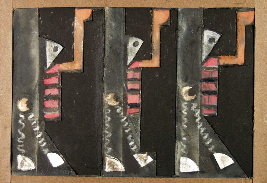 """Tadeusz Kantor, Trzy służące, rysunek do spektaklu Śmierć Tintagilesa, 1937, Kolekcja """"A"""", depozyt w Muzeum Narodowym w Krakowie"""