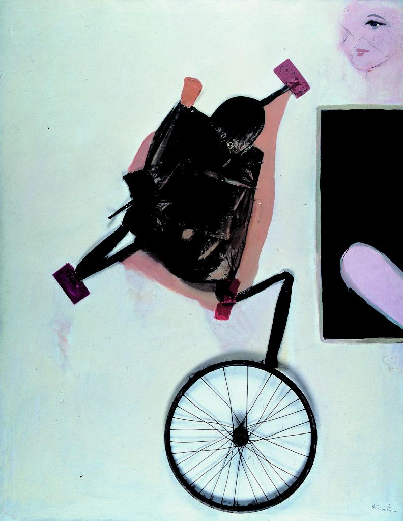 Tadeusz Kantor, Emballage IV, 1967, plecak, koło rowerowe, olej, płótno, wł. Muzeum Sztuki w Łodzi
